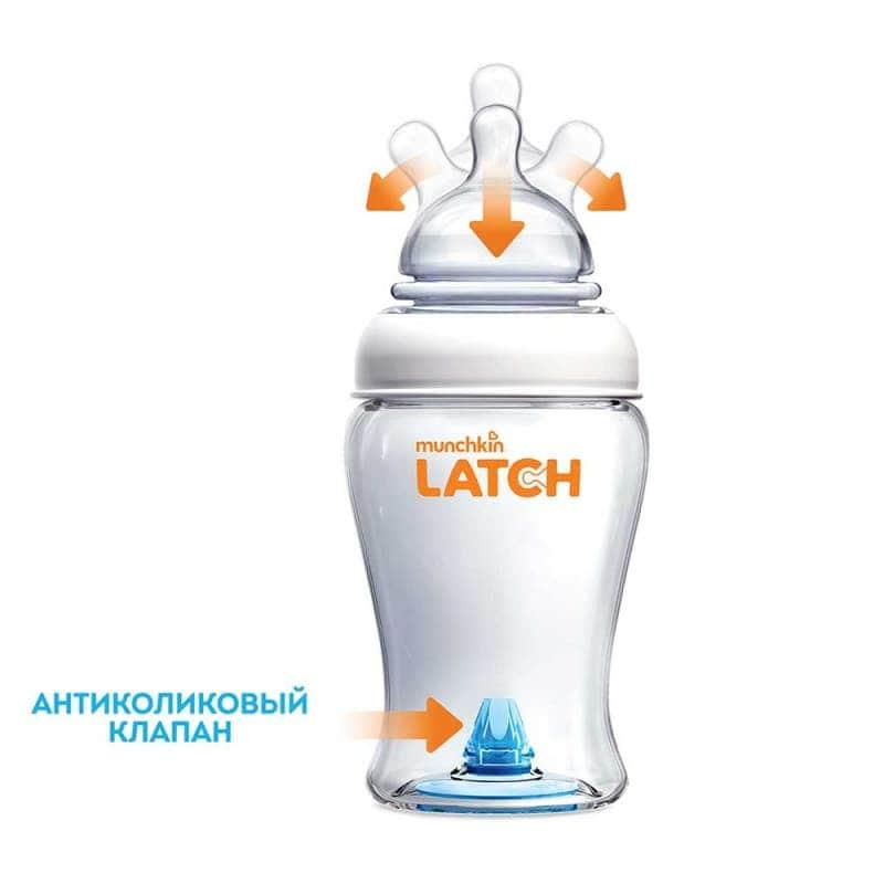 Бутылочка пластиковая для кормления 240 мл LATCH, Munchkin