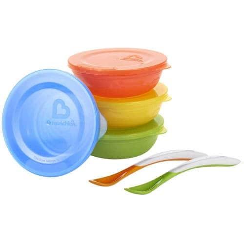 Набор детской посуды: миски c крышкой 4 шт, ложки 2 шт, Munchkin