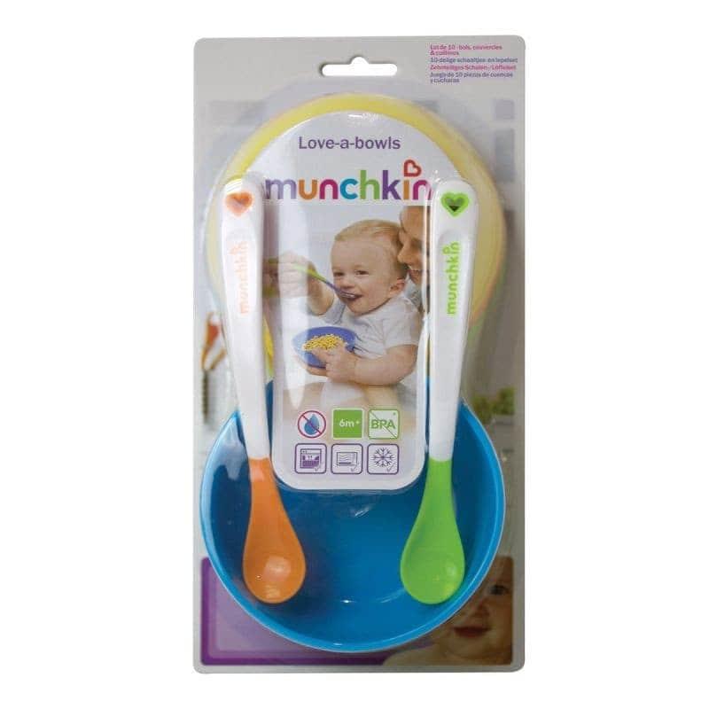 Набор детской посуды: тарелки c крышкой 4 шт, ложки 2 шт, Munchkin