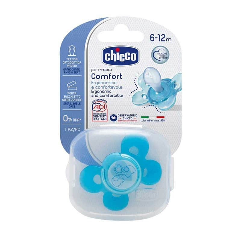 Пустышка силиконовая голубая Physio Comfort 1 шт., Chicco