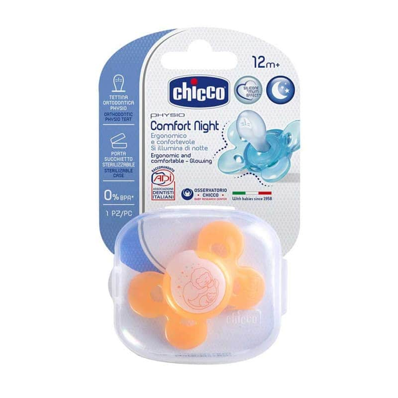 Пустышка силиконовая оранжевая Physio Comfort 1 шт., Chicco