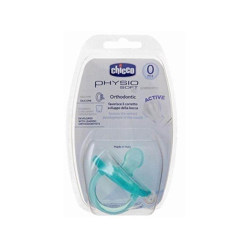 Пустышка силиконовая Physio Soft голубая, Chicco