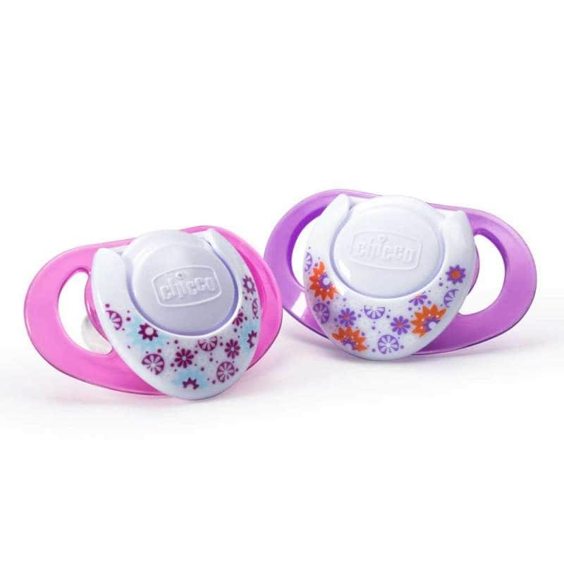 Пустышка силиконовая розовая+фиолетовая Physio Compact 2 шт., Chicco