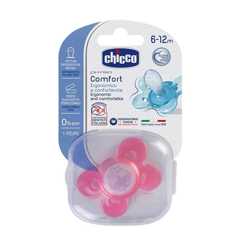 Пустышка силиконовая розовая Physio Comfort 1 шт., Chicco