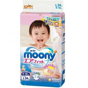 Подгузники Moony L 54 шт. (9-14 кг) для внутреннего рынка Японии