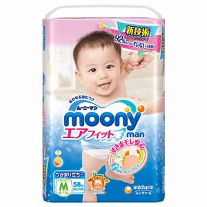Трусики Moony M 58 шт. (6-11 кг) унисекс (учимся ходить) для внутреннего рынка Японии