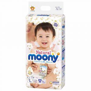 Подгузники Moony Natural L 40 шт. (9-14 кг) для внутреннего рынка Японии
