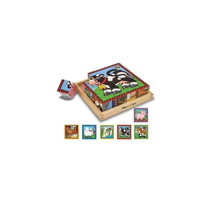 "Деревянные кубики на платформе ""Ферма"", Melissa&Doug"