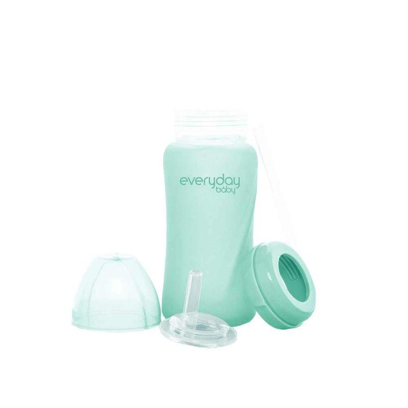 Бутылочка стеклянная с трубочкой и с силиконовой защитой, Everyday Baby