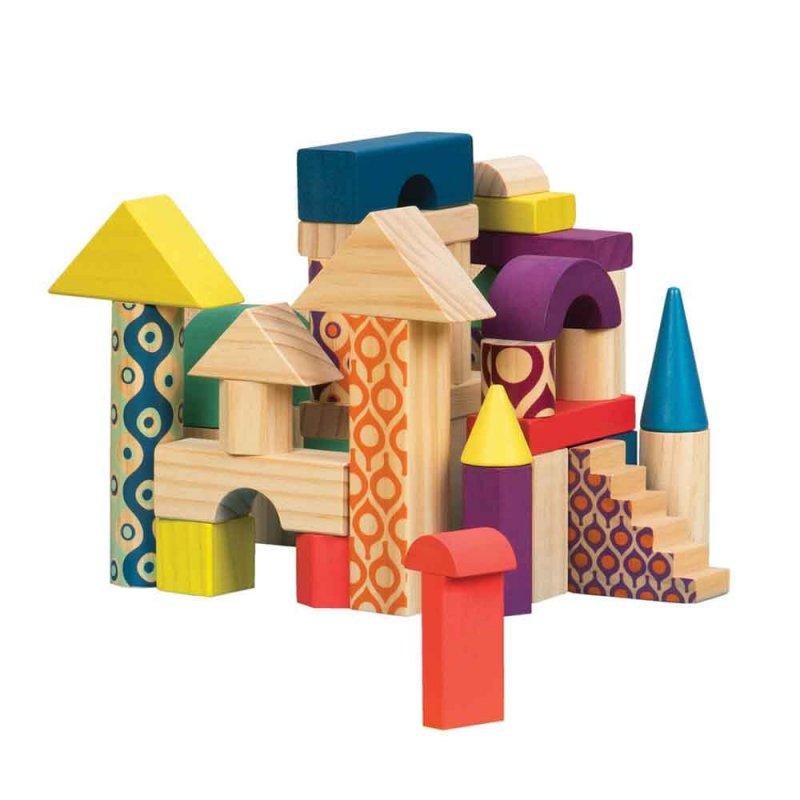 """Деревянные кубики """"Еловый домик"""", Battat"""