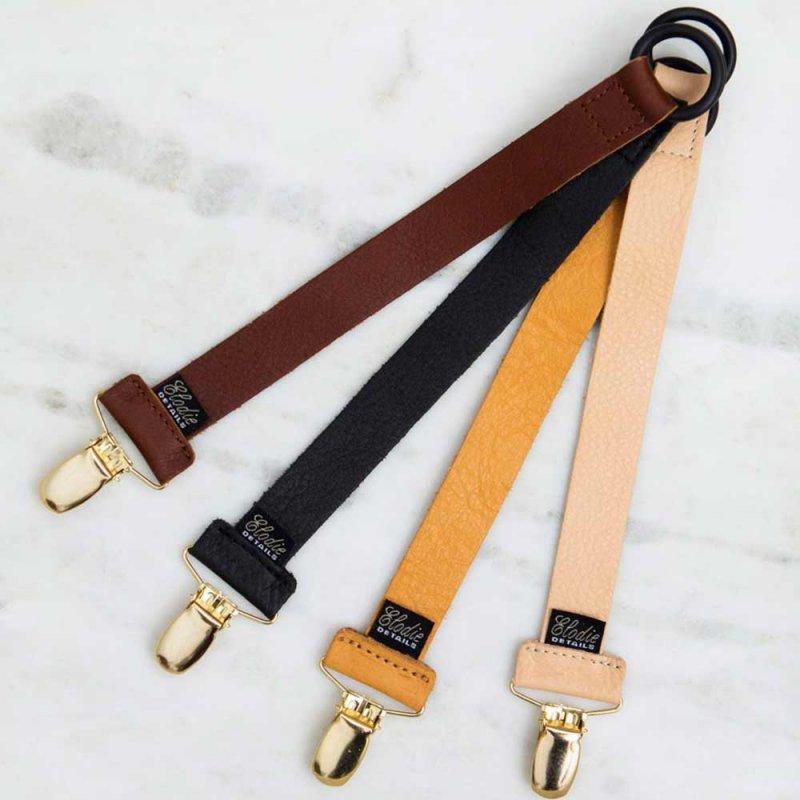 "Ремешок с клипсой для пустышки ""Leather Pacifier Clip-Black"", Elodie Details"